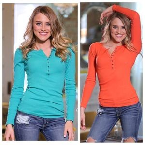 Teal Ribbed Button Front Tunic.